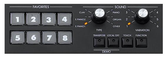 Choix des sons vintage avec registre de programation du SV1 KORG